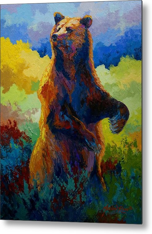 Bear Metal Print featuring the painting I Spy - Grizzly Bear by Marion Rose
