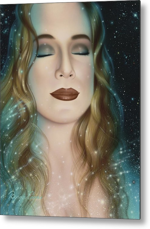 Portrait Metal Print featuring the painting Inner Beauty Of Outer Space by Brigit Byron Coons