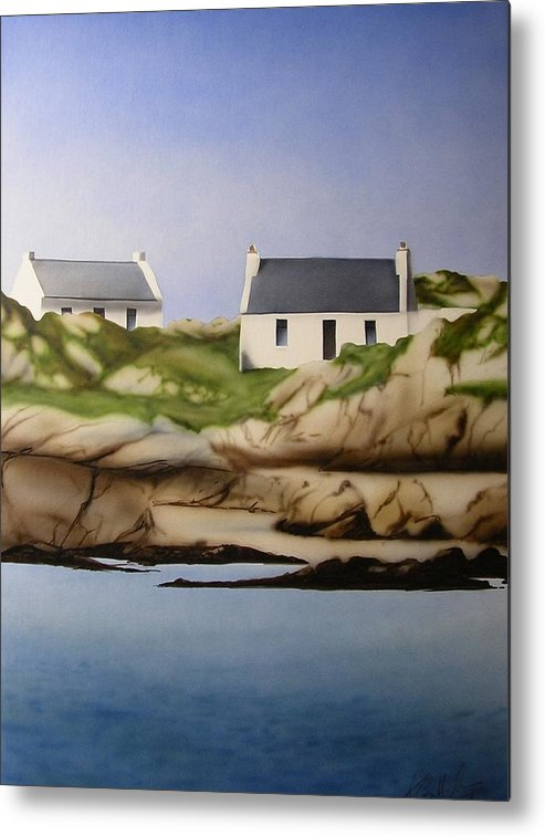 Island Cottages Ireland Seascape Metal Print featuring the painting Island Cottages by Kevin Gallagher