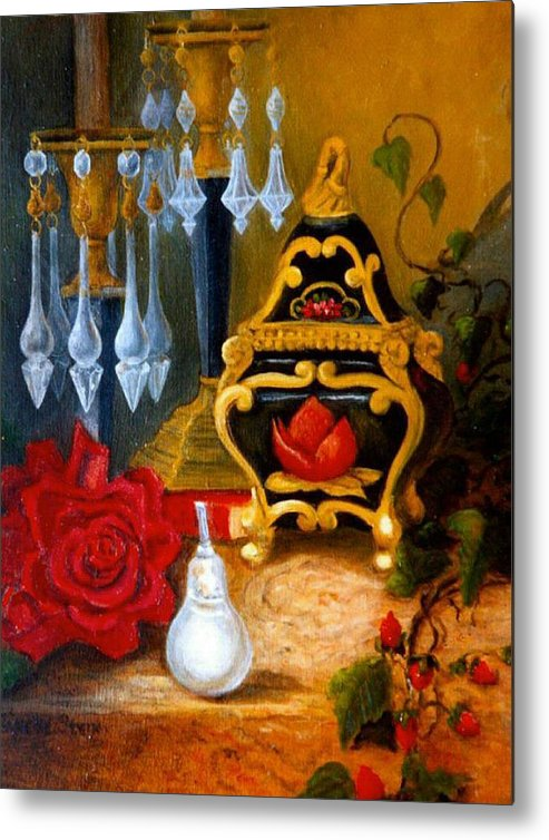 Candlesticks Metal Print featuring the digital art Italian Cache And Crystal by Jeanene Stein