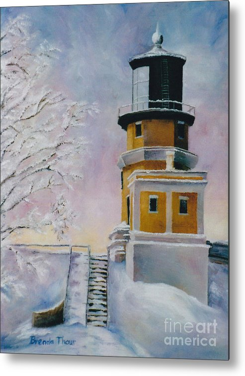 Lighthouse Metal Print featuring the painting Januarys Light by Brenda Thour