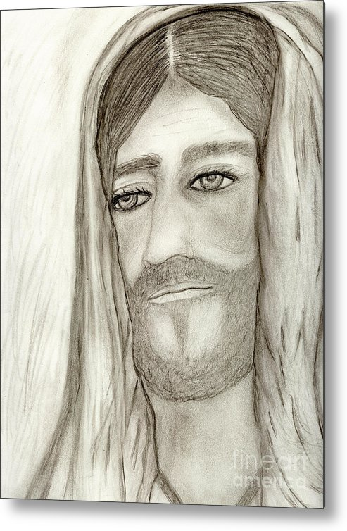 Jesus Metal Print featuring the drawing Jesus by Sonya Chalmers