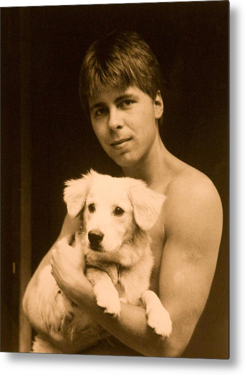 Portrait Metal Print featuring the photograph Johnny With Dog by John Toxey
