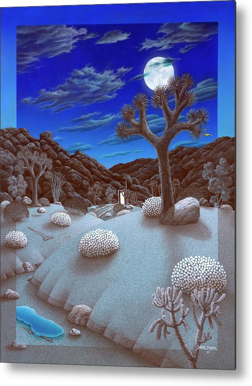 Landscape Metal Print featuring the painting Joshua Tree At Night by Snake Jagger