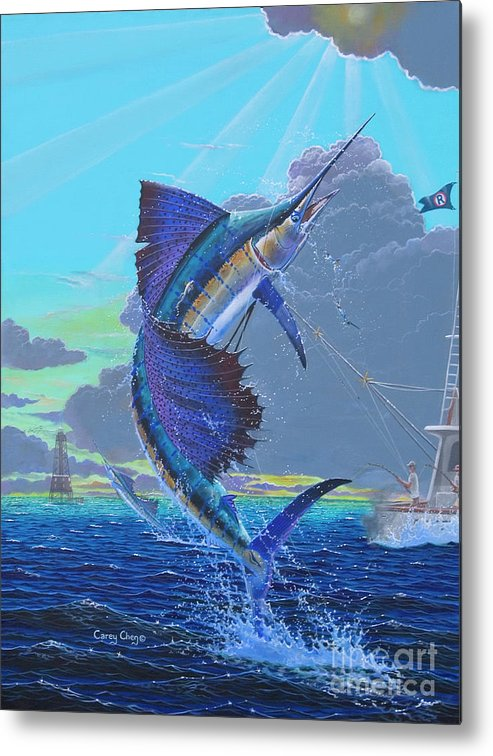 Sailfish Metal Print featuring the painting Key Sail Off0040 by Carey Chen