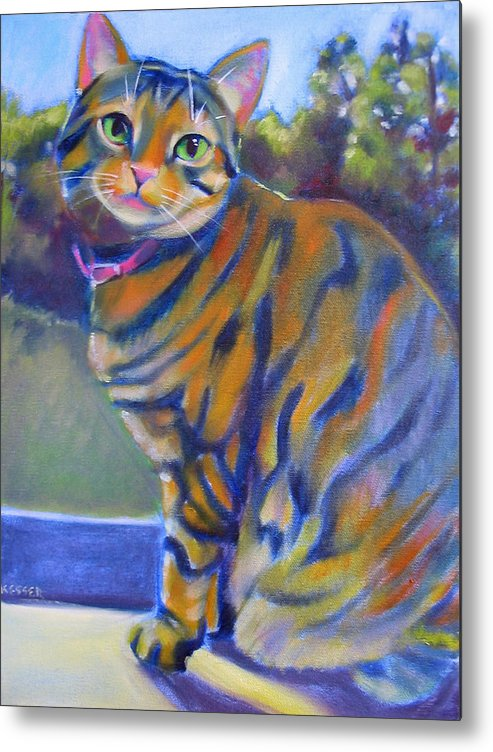 Tabby Cat Metal Print featuring the painting Kitty In The Window by Kaytee Esser