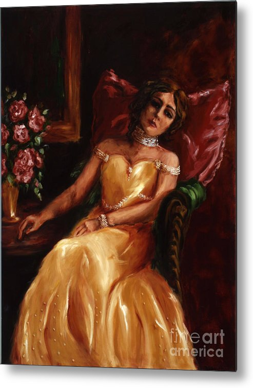 Woman Metal Print featuring the painting Lady Catherine by Robin DeLisle