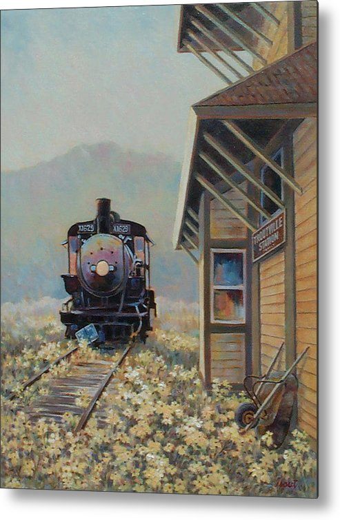 Locomotive Metal Print featuring the painting Last Stop Troutville by Don Trout