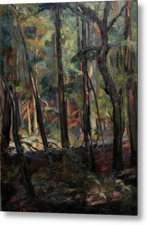 Oil Painting Metal Print featuring the painting Light Dancing With Trees by Maris Salmins