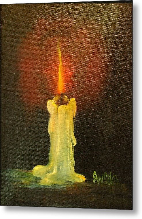 Candles Metal Print featuring the painting Light The Way by Sally Seago