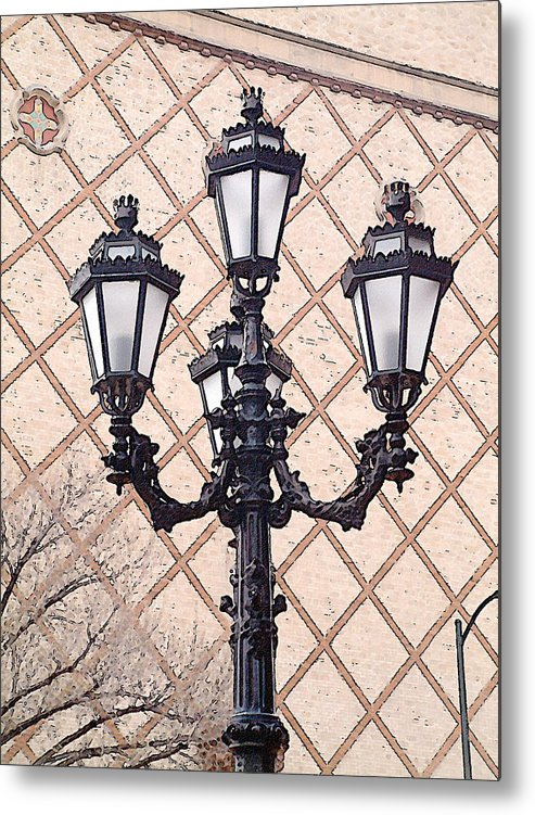 Urban Metal Print featuring the photograph Lightpost by Carl Perry