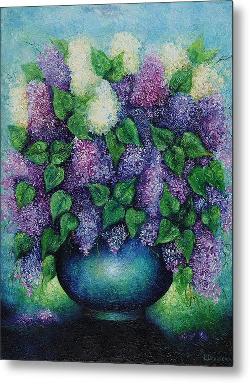 Flowers Metal Print featuring the painting Lilacs No 1. by Evgenia Davidov