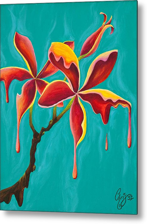 Plumeria Metal Print featuring the painting Liquidia Plumeria by Chris Fifty-one