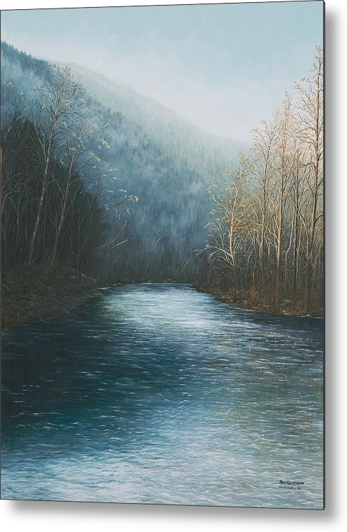 Buffalo River Paintings Metal Print featuring the painting Little Buffalo River by Mary Ann King