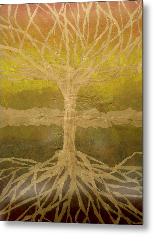Abstract Metal Print featuring the painting Meditation by Leah Tomaino
