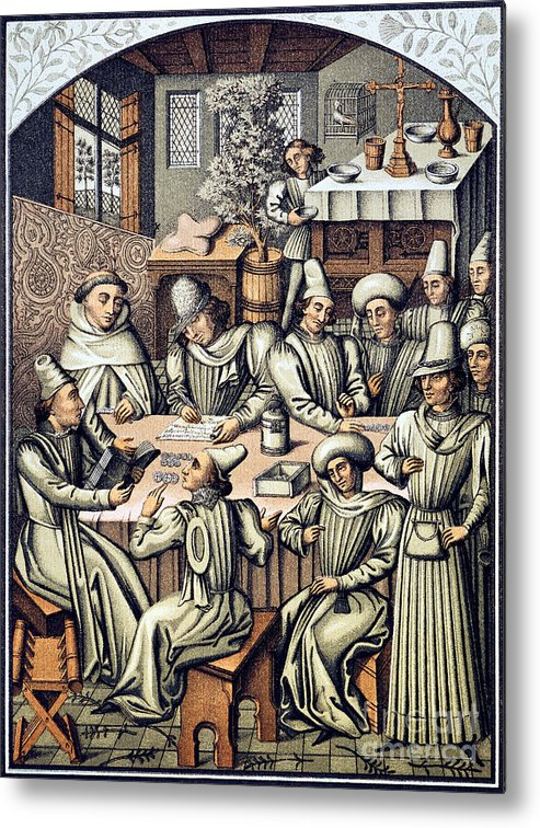 15th Century Metal Print featuring the photograph Merchants Paying Taxes by Granger