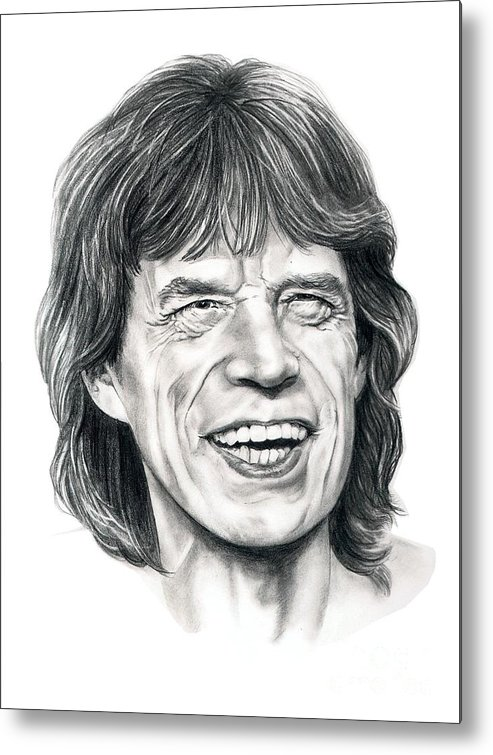 Mick Jagger Metal Print featuring the drawing Mick Jagger by Murphy Elliott