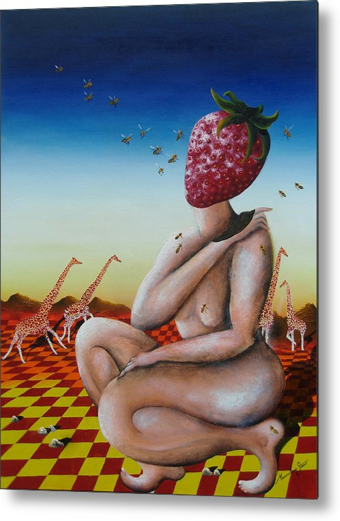 Strawberry Metal Print featuring the painting Miss Fragaria by Massimiliano Stanco