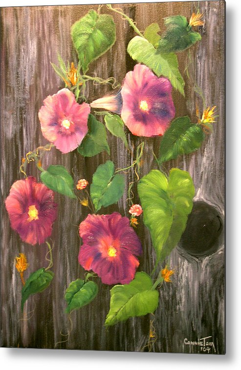 Connie Tom Metal Print featuring the painting Morning Glories by Connie Tom