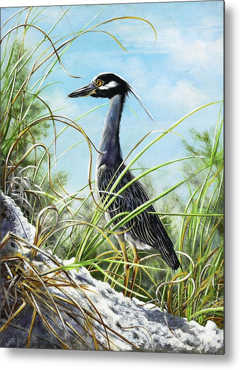 Bird Metal Print featuring the painting Morning Hunt by Joan Garcia