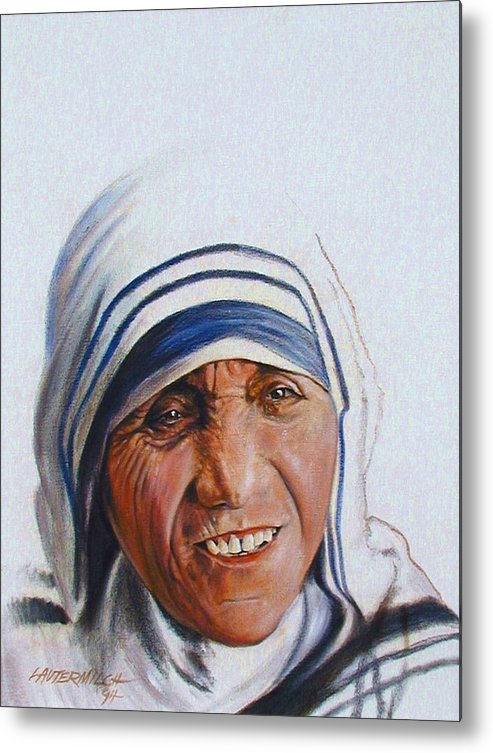 Mother Teresa Metal Print featuring the painting Mother Teresa by John Lautermilch