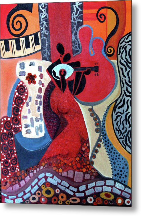 Musical Instruments Figurative Cubist Abstract Metal Print featuring the painting Music Is Love by Niki Sands