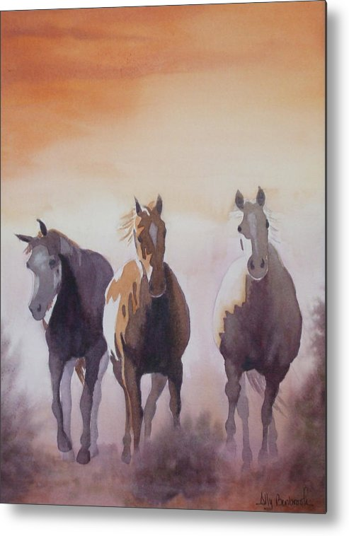 Horse Metal Print featuring the painting Mustangs Out Of The Fire by Ally Benbrook