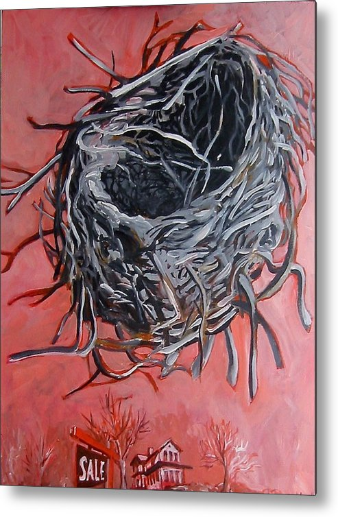 Nest Metal Print featuring the painting Nest Above House by Tilly Strauss