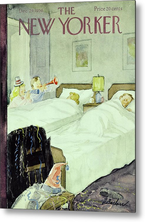 New Years Metal Print featuring the painting New Yorker December 29 1956painting by Perry Barlow