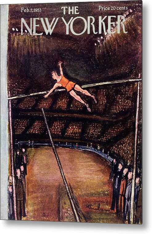 Pole Vault Metal Print featuring the painting New Yorker February 7 1953 by Abe Birnbaum