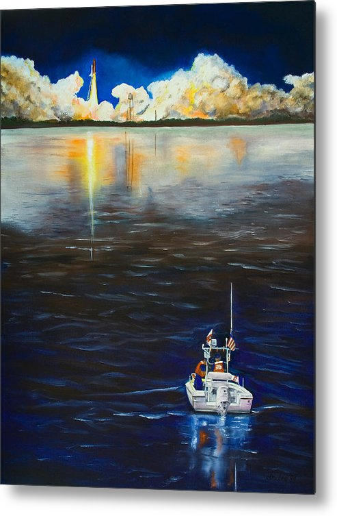 Coast Guard Metal Print featuring the painting Night Launch by Dorothy Riley