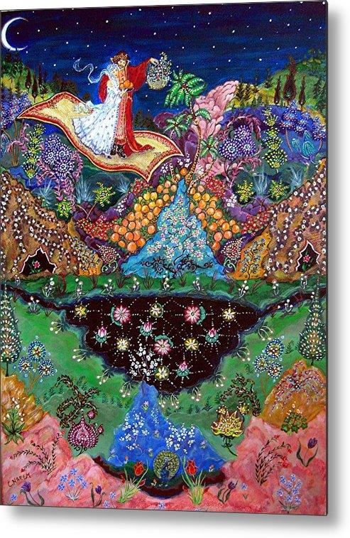 Night Metal Print featuring the painting Night On The Magic Carpet by Caroline Urbania Naeem