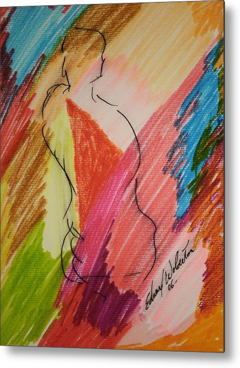 Portrait Metal Print featuring the mixed media Nude Study K by Edward Wolverton