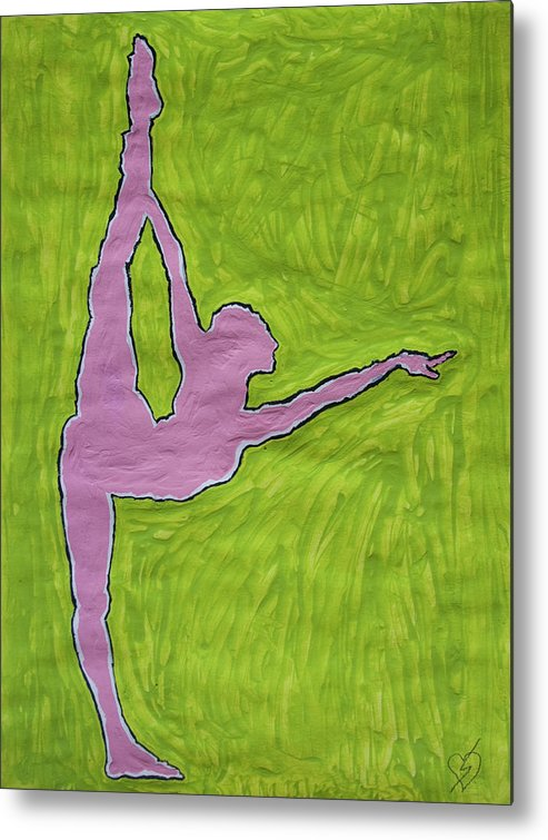 Nude Yoga Girl Metal Print featuring the painting Pink Nude Yoga Girl by Stormm Bradshaw