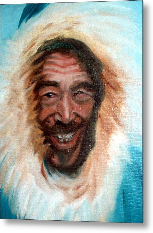Portrait Metal Print featuring the painting Nunu by Lia Marsman