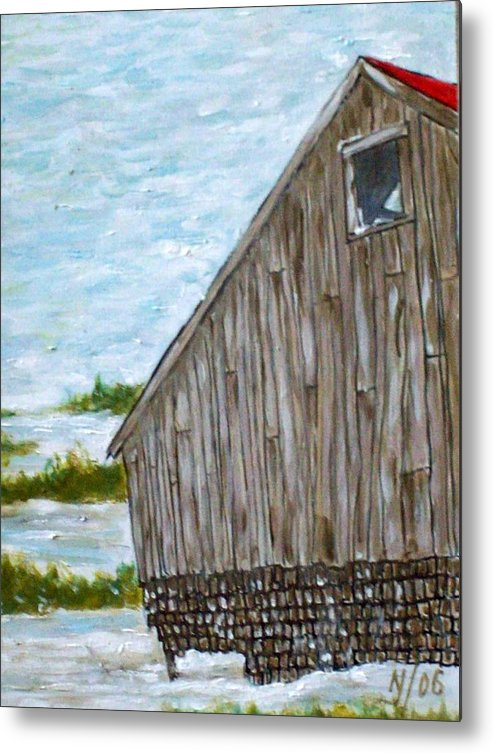 Barn Metal Print featuring the painting Old Barn In Winter by Norman F Jackson