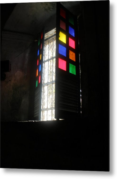 Church Window Metal Print featuring the photograph Old Catholic Church Window by Robert Cunningham