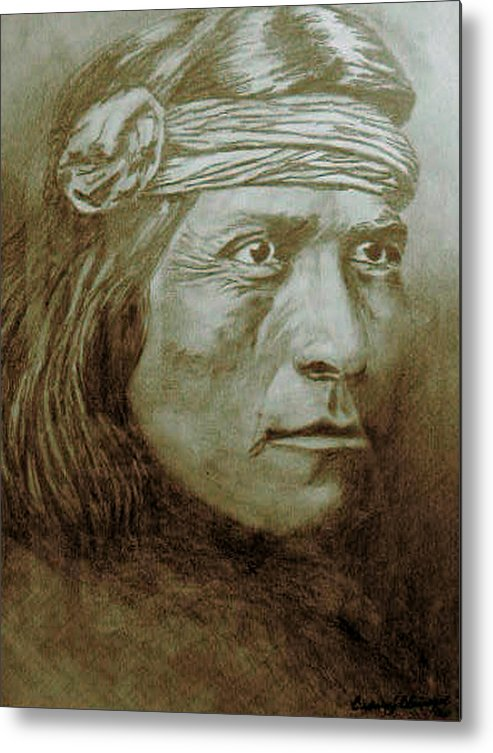 Indian Metal Print featuring the drawing Old Indian Reference by Barbara J Blaisdell