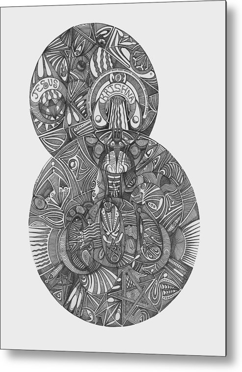 Pen & Ink Metal Print featuring the drawing ONE by J P Lambert