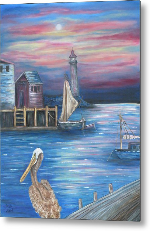 Sunset Metal Print featuring the painting Pelican Port by Mikki Alhart
