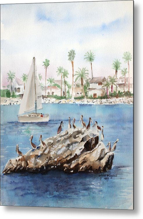 Pelicans Metal Print featuring the painting Pelican Rock by Arline Wagner