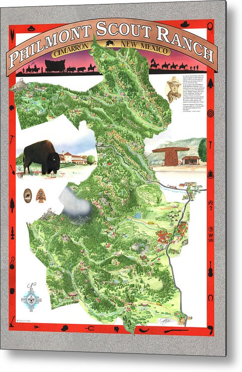 Cimarron Metal Print featuring the painting Philmont Scout Ranch Poster Art by Philippe Plouchart