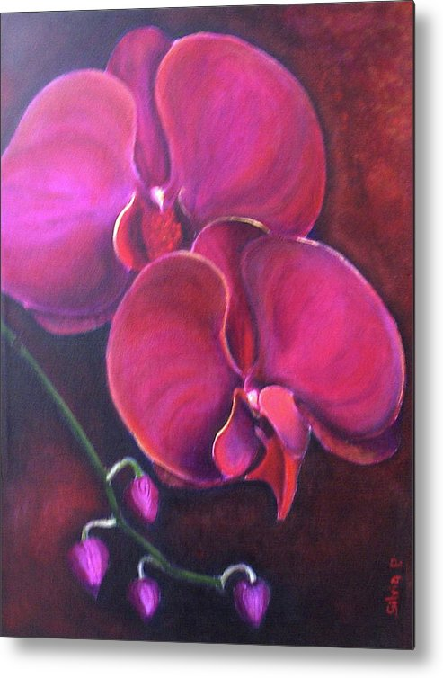 Orchid Metal Print featuring the painting Pink Orchid by Silvia Philippsohn