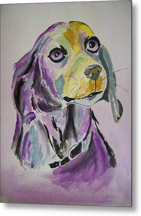 Dog Metal Print featuring the painting Purple Beagle by Leo Gordon