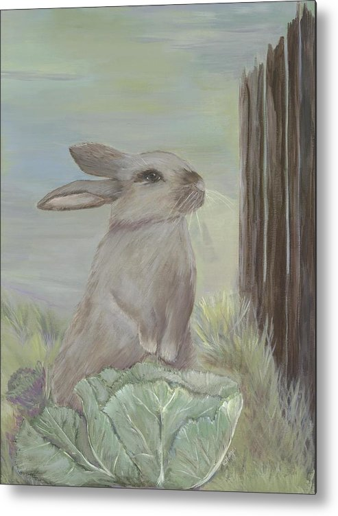 Rabbit Metal Print featuring the painting Rebekah's Garden by Kimberly Hodge