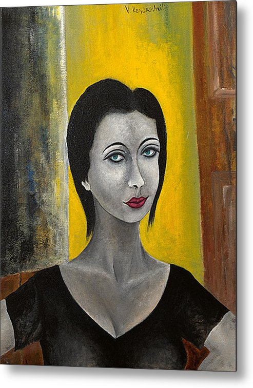 Portrait Metal Print featuring the painting Red Lips by Vladimir Kezerashvili