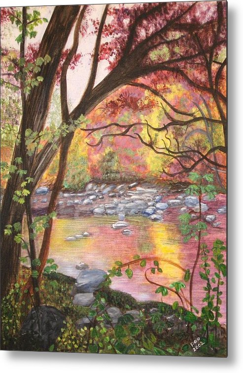 Landscape Metal Print featuring the painting Rock Creek Autumn by Patricia Ortman