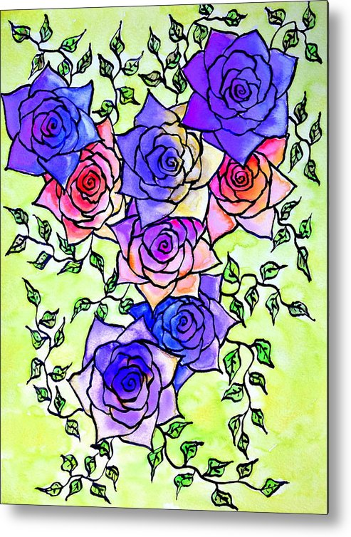 Roses Metal Print featuring the painting Roses Garden by Gordana Jukic