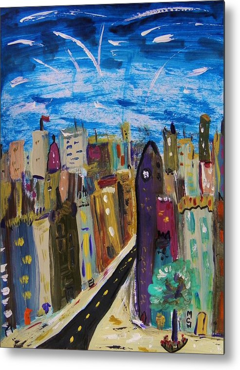 Acrylic Metal Print featuring the painting Shooting Stars Over Old City by Mary Carol Williams