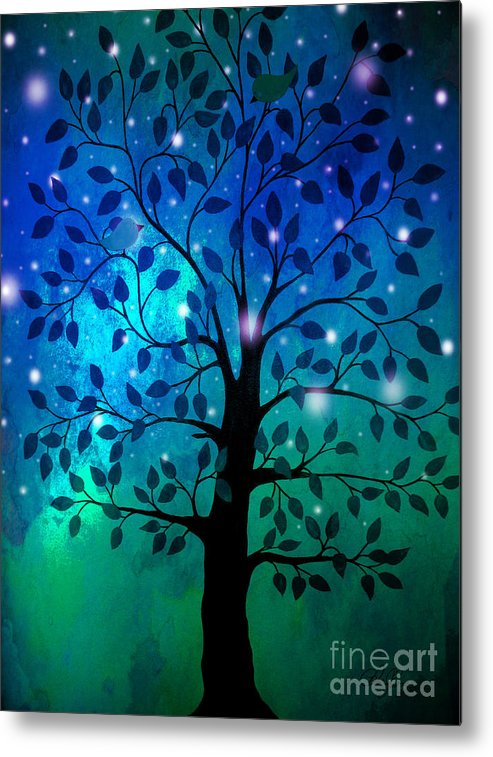 Tree Metal Print featuring the painting Singing In The Aurora Tree by Cheryl Rose